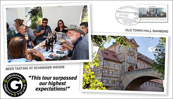 Postcard image depicting a tour group drinking beer at Schneider Weisse, and the Old Town Hall in Bamberg