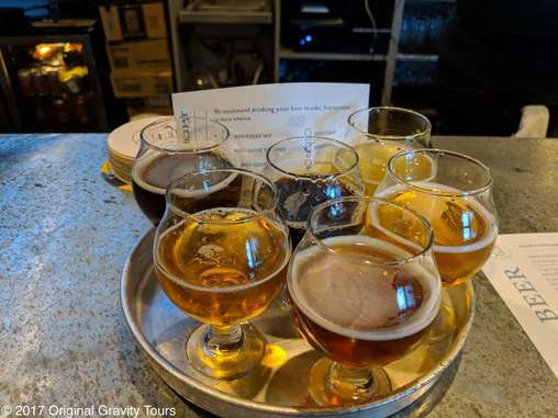 Sample tray at Laughing Monk Brewing